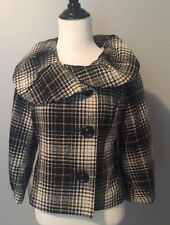 Mossimo Plaid Black Yellow Lined Short Button Front 3/4 Sleeve Jacket Small