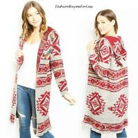 Western Rodeo Open Front Hooded Cotton Knit Maxi Sweater Coatigan Coat S M L XL