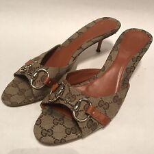 84931ae92984ed Gucci GG GUCCISSIMA Canvas Silver Horsebit Sandals Sz 9B Women s