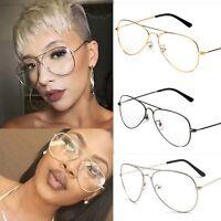 Classic Pilot Aviator Metal Frame Clear Lens Eyeglasses Glasses Men Women's