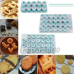 26Pcs Alphabet Number Letter Cake Mold Fondant Icing Cutter Mould AU