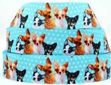 "Grosgrain Ribbon 7/8"" & 1.5"" Chihuahua Dog Colorful Puppy Pets Printed."