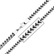 "Inox Jewelry Unisex Oxidized Franco Stainless Steel Necklace Chain - Black - 24"""