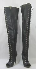 "new lady Black 5.5""High Heel Open Toe Front Lace Up Sexy Over Knee Boots Size 7"