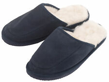Mens Ladies Mule Slippers Blue Sheepskin Suede Wool Lined with Hard EVA Sole