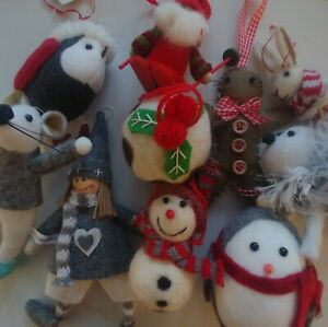 Bundle of 10 LUXURY CHRISTMAS TREE DECORATIONS wool fabric felt NEW rrp £50