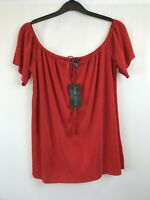 New look Ladies top red off shoulder short sleeve polyester size 12 new with tag