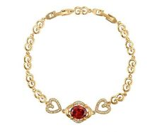 New 9CT Gold Filled  Heart  Bracelet Clear and Dark Red Ruby CZ  B346