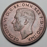 1943 GREAT BRITAIN 1/2 HALF PENNY BROWN STUNNING UNC (DR)