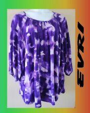 WOMEN'S PLUS SIZE 4X 26W 28W  SUMMER FLOWING PURPLE TOP SHIRT CLOTHING - NEW
