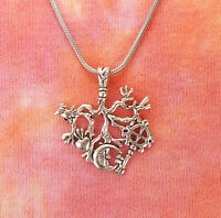 Cimaruta Charm Necklace, Broom Raven Heart Solar Cross Moon Wicca Spell Pendant