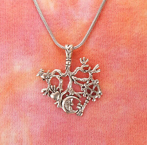 Cimaruta Charm Necklace, Broom Raven Heart Solar Cross Moon Wicca Spell Pendant