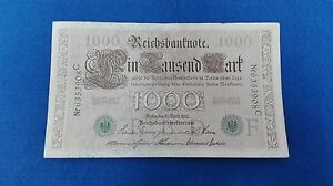 Banknotes 1000 Marcos Germans 1910. Without Circular