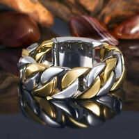 UK Fashion Two Tone 925 Silver Rings for Men Band Party Jewelry Size 6-10 Gifts