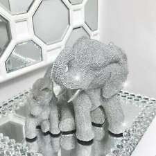 Silver Glitter Elephant Ornament Mother & Baby Africa Animal Figure Diamantes