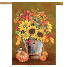 "Autumn Arrangement Floral House Flag Fall Pumpkins 28"" x 40"" Briarwood Lane"