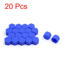 20pcs Blue Car Truck Wheel Tyre Hub Screw Bolt Nut 19mm Plastic Cap Accessories