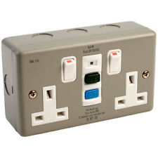 Europa RCD13AMC METAL CLAD RCD Twin Double 2 Gang Socket SWITCHED 13amp 30mA