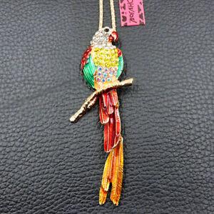 Betsey Johnson Beautiful Multi-Color Enamel Crystal Parrot Bird Pendant Necklace