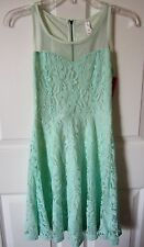 Xhilaration Seafoam Mint Green Lace Mesh Sweetheart Skater Dress X-Small NWT