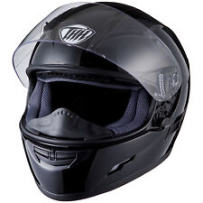 THH Ts-80 Plain Full Face Motorcycle Bike Helmet Inner Sun Visor L Gloss  Black 491157438eda6