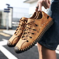 Mens Driving Moccasins Lace Up Loafers Shoes Hollow Out Casual Sandal Breathable