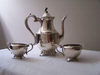 Vintage Wm A. Rogers Silver-Plated 3 Pc. Tea Set - Tea/Coffee Pot, Sugar & Cream