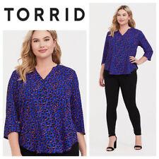 Torrid 1X 16 18 Top Shirt Tunic Animal Print Leopard Blue Georgette    gg