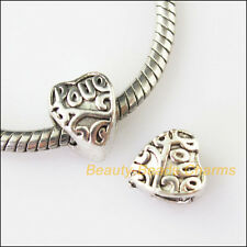 5Pc Antiqued Silver Heart 5.2mm Hole Beads fit European Charms Bracelet 8.5x10mm