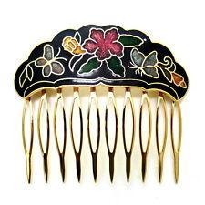 """Cloisonne 2.25"""" Hair Comb Black Garden Painted Enamel Vintage Style Updo Clip"""