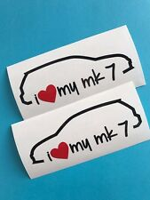 2x I Love My VW Golf mk7 13,5x4,5cm Aufkleber Car Window Sticker Vinil Decal 294
