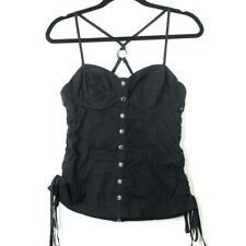GUESS Women's Spaghetti Strap Ruched Top Bustier, SZ M, Black