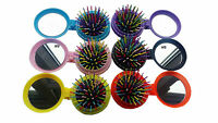 New Girls Travel Folding Hair Brush With Mirror Pocket Size Comb wholesale