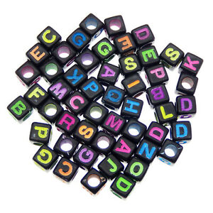 Lot of 400 Acrylic Letter Alphabet Cube Beads Loose Pony Black Jewelry Spacers