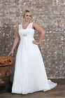 2017 New A-Line Chiffon Bridal Gown V Neck Wedding Dress Stock Plus Size14W--26W