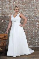 2018 New A-Line Chiffon Bridal Gown V Neck Wedding Dress Stock Plus Size14W--26W