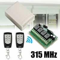 2 Transmitter+ 12V 4CH Channel Relay RF Wireless Remote Control Switch Receiver