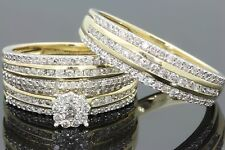 14k gold over 2.3ct round diamond ring vvs1 wedding his her band ring bridal set