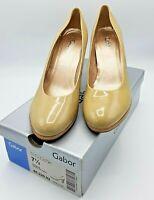 Gabor Beige Women's Heels Soria Patent Court Shoe UK Size 7.5 EU 41 US 10