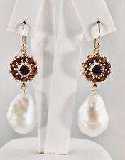 Vintage Genuine Garnet & Baroque Pearl 14kt Yellow Gold Dangle/Drop Earrings
