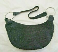 black silver purse handbag HOBO hippie evening party bag zip