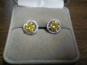 Sterling Silver 925 Round Canary Yellow Halo Earrings w/Backs      2.7 grams