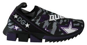 DOLCE & GABBANA Shoes Black Purple Sorrento DG Queen Casual Sneakers EU39 /US8.5