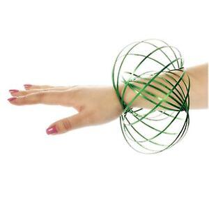 Green 3D Magic Flow Rings Toys Gifts Kinetic Spring Fun Slinky Juggle Dance
