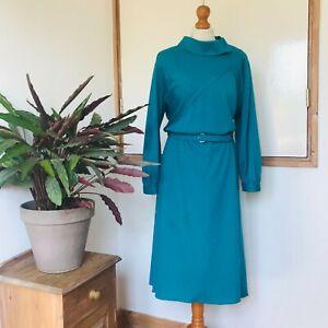 Vtg 80s Green Diagonal Stripe Batwing Turnover Collar Belted Dress 14