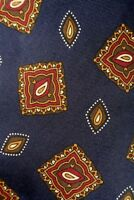 Jos. A. Bank Navy Blue/Brown/Red Geometric 100% Silk Necktie Size: Classic