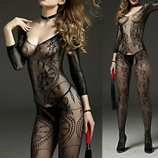 Fishnet Open Crotch Body Stocking Bodysuit Nightwear Lingerie WomenDress X