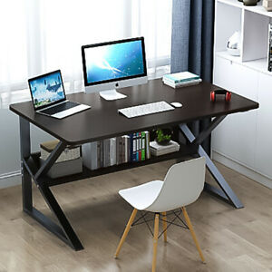 Computer Desk Study PC Writing Table Workstation Shelf Metal Wooden Home Office