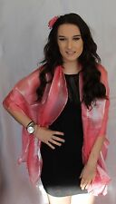 Rose clip Light Coral Pink Large Organza ball wrap Shawl Stole Evening Scarves
