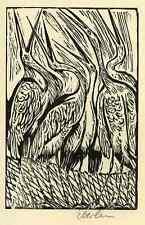 FABEL: Der BAUER & der STORCH  Klaus EBERLEIN Orig.Holzschnitt 1973 HandSigniert